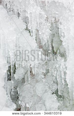 Seasonal Winter Nature Detail, Iciles, Frozen Water Formations.