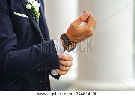 The Groom In An Expensive Classic Blue Suit