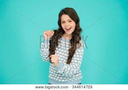 Lets Celebrate. Happy Child Celebrate Blue Background. Small Girl Enjoy Celebrating. Celebrate Birth