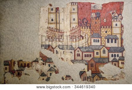 Barcelona, Spain - Dec 26th 2019: Conquest Of Majorca In 1229. Attack On The City Of Majorca. Nation