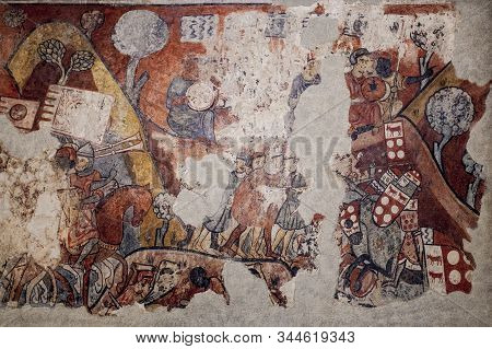 Barcelona, Spain - Dec 26th 2019: Conquest Of Majorca In 1229. Battle Of Portopi. National Art Museu