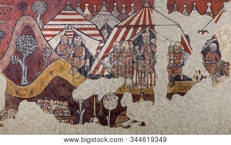 Barcelona, Spain - Dec 26th 2019: Conquest Of Majorca In 1229. King James I Of Aragon Encampment. Na