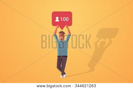 Man Holding Notification Icon Blogger Excited About Followers Activity On Social Media Networking Bl