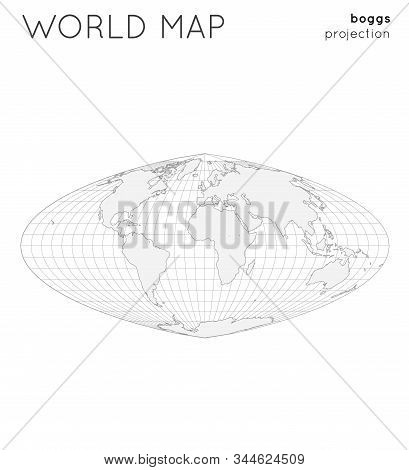 World Map. Globe In Boggs Projection, With Graticule Lines Style. Outline Vector Illustration.