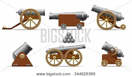 Antique Pirate Cannons. Cartoon Medieval Cannon Set With Cannonballs Isolated On White Background Fo
