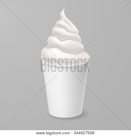 Whipped Vanilla Frozen Yogurt Or Soft Ice Cream Mockup In White Cardboard Cup. Isolated Illustration