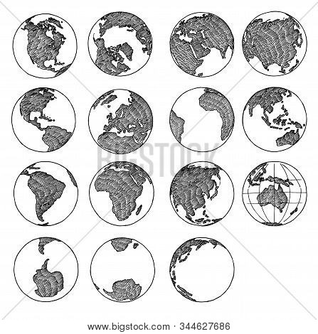 Earth Globe Doodle. Sketch Of Globe. Planet Sketched Map America, India, Africa, Europe, Asia Contin