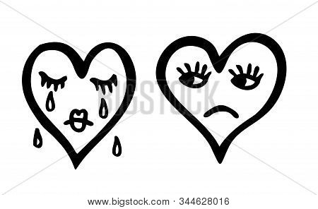 Vector Illustration Of Sketch Character Heart. Sad And Crying Heart Emoticon. Two Hearts.