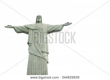 Christ The Redeemer, The New 7 Wonders Of The World Located On Corcovado Mountain, Rio De Janeiro, B