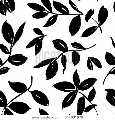 Leaves And Branches Vector Seamless Pattern. Brush Leaves And Twigs. Olive, Sage Or Eucalyptus Branc