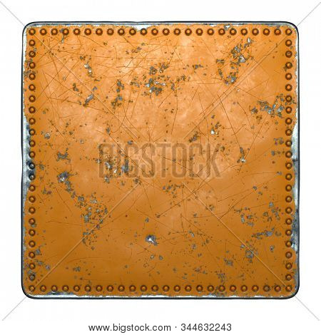 Rust metal with rivets in the shape of a square in the center on white background. 3d rendering