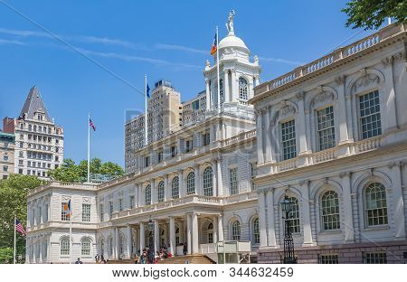 New York - June 2, 2016: Facade Of The City Hall And Manhattan Municipal Building In Lower Manhattan