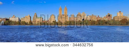 Panoramic View Of New York Manhattan Upper West Side Skyline Across The Water In Jacqueline Kennedy