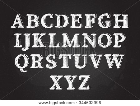 Uppercase Chalk Scribble Font Set Vector Illustration. White Chalk Style Contour Alphabet Symbols, F