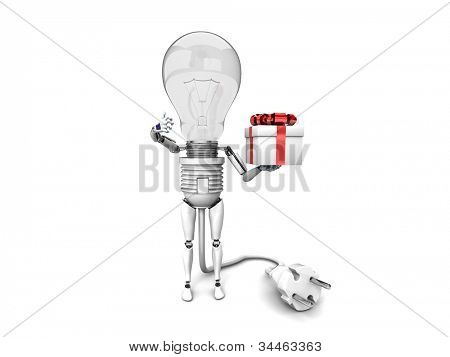 """The robot """"bulb"""" Holds in a hand gift and show """"ok""""  isolated on a white background"""