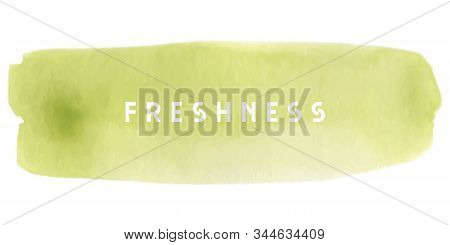 Green Watercolour Brushstroke In Sketch Style On White Background. Vector Watercolour. Modern Templa