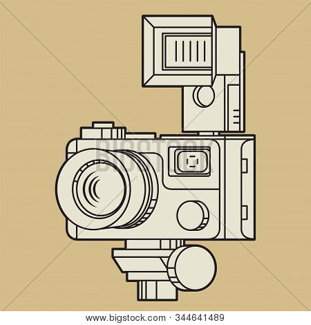 Vintage Professional Camera With Lens And Large Flash Strobe, Vector Illustration