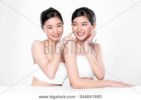 Portrait Two Beautiful Young Asian Woman Clean Fresh Bare Skin Concept.  Asian Girl Beauty Face Skin