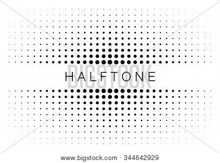 Halftone Gradient Texture Frame Isolated On White Background. Comic Dotted Pattern Using Halftone Ci