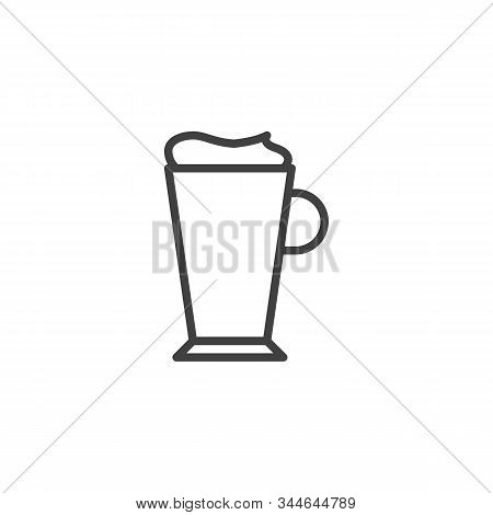 Latte Coffee Glass Line Icon. Linear Style Sign For Mobile Concept And Web Design. Frappe Glass Outl