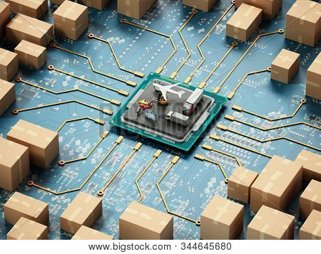 Large Group Of Cardboard Boxes Connected To Microchip. 3d Illustration.