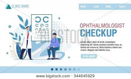Landing Page Presenting Ophthalmologist Clinic. Professional Optician Checkup. Cartoon Ophthalmologi