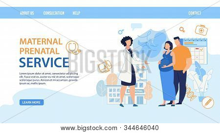 Flat Landing Page Layout Design. Maternal Prenatal Service. Cartoon Female Doctor Consulting Pregnan