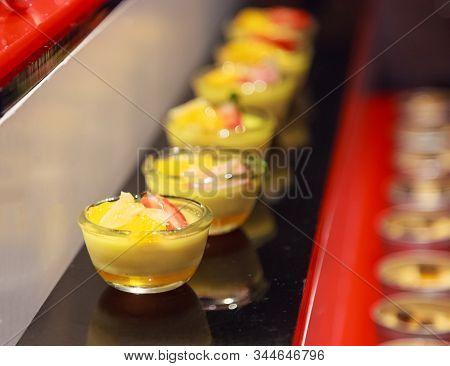 Traditional Thai Summer Dessert: Assortment Of Tropical Mixed Seasonal Fruit Toppings (mango, Strawb