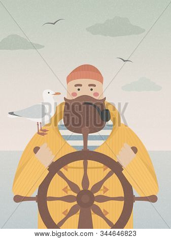 Sailor At The Helm Smoking Pipe. Vector Fisherman With A Seagull On His Shoulder. Vintage Grained Te