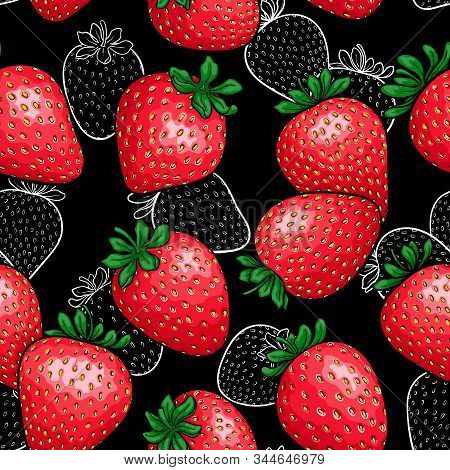 Seamless Pattern Red Strawberry With Black And White Outline Strawberry Background. Design Holiday G