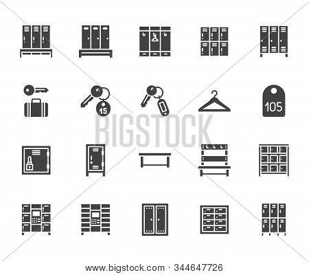 Locker Room Flat Glyph Icons Set. Gym, School Lockers, Automatic Left-luggage Office, Key Tag Vector