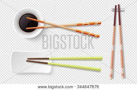 Chopsticks. Colorful Wooden Sushi Sticks, Plate With Soy Sauce. Asian Food Utensils Isolated On Tran