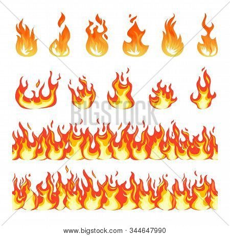 Fire Flame. Burning Firex Seamless Border, Cartoon Style Blazing Campfire. Fiery Effect And Differen