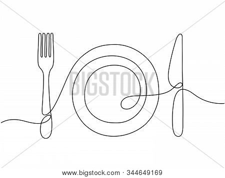 One Line Art. Plate Knife, Fork Continuous Outline Drawing. Decoration For Cafe Or Kitchen, Restaura