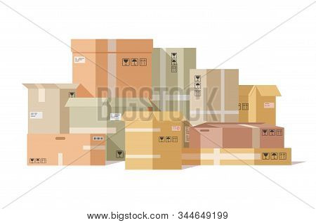 Cardboard Boxes Stacked. Carton Box, Pile Fragile Parcels. Warehouse Shipping Cargo Packaging. Deliv