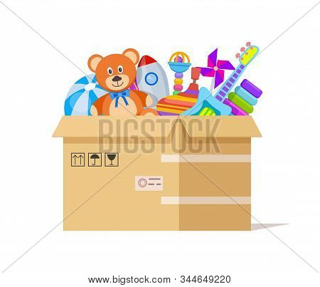 Toy Box. Donate Toys, Charity Kids Support. Volunteer Donations For Poor Children In Cardboard Parce