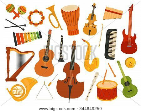 Musical Instruments. Music Sound Instrument, Harp And Flute, Synthesizer And Drum. Graphics Instrume