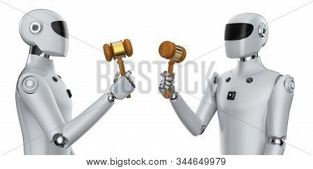 Cyber Law Concept With 3d Rendering Cyborg Hand Holding Gavel Judge On White Background