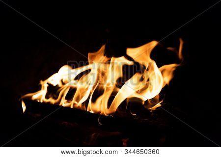 Bonfire. Orange Flame Of A Fire. Arson Or Natural Disaster. Bonfire Close. Fire In Nature. Bonfire B