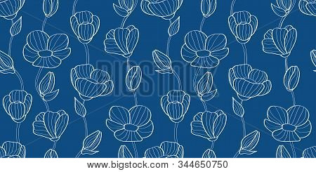 Floral Seamless Pattern Of Flax Plant With Flowers And Buds. Linear Flowers. 2020 Color Panton Class
