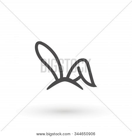 Rabbit, Easter Bunny Ears Icon Easter Bunny Mask. Spring Hat On A White Background. Headdress, Costu