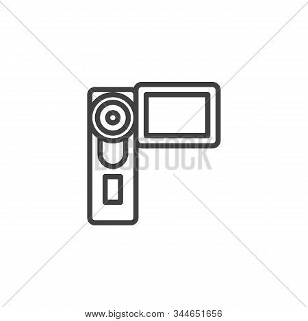 Digital Video Camera Line Icon. Camcorder Linear Style Sign For Mobile Concept And Web Design. Handy
