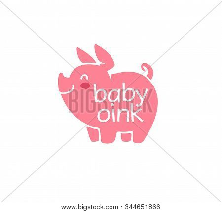 Logo Design For Kid Toys Store, Market, Boutique With Cute Oink Little Pig Character Silhouette Isol