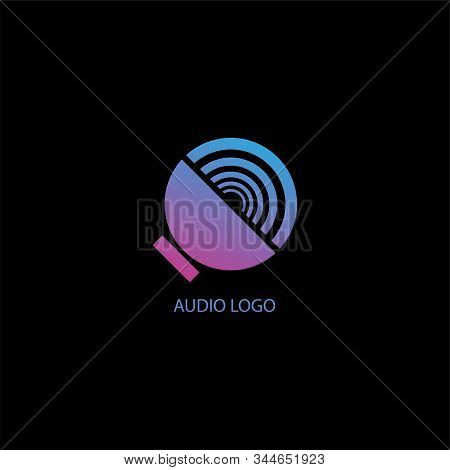 Speaker Sound Logo Concept, Audio Signal Design Template, Colorful, Orange, Blue Purple Gradation, P