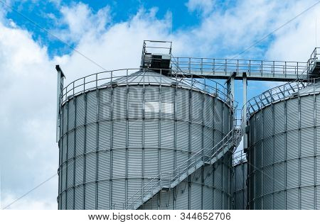 Agricultural Silo At Feed Mill Factory. Big Tank For Store Grain In Feed Manufacturing. Seed Stock T