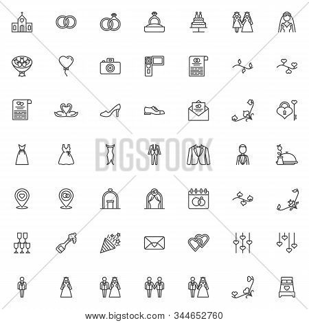 Wedding, Marriage Line Icons Set. Bridal Linear Style Symbols Collection, Outline Signs Pack. Vector