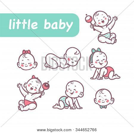 Little Baby Infants Boys And Girls Characters Sitting, Playing With Rattle, Crawling, Sleeping, Smil