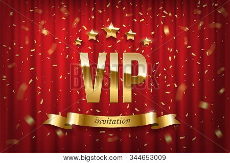 Vip Event Invitation Realistic Illustration. Festive Red Curtain Vector Luxury Background. Retro Cin