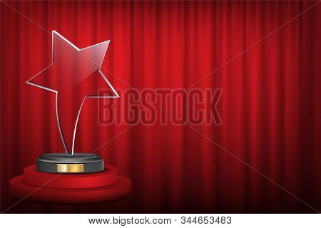 Star Award On Trophy Realistic 3d Illustration. Winner Prize On Red Curtain Backdrop. Achievement Re