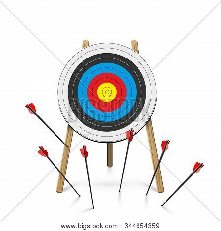 Flat Arrows Missed Hitting Target Cartoon Mark Isolated On White. Shot Miss. Sport Game Business Com